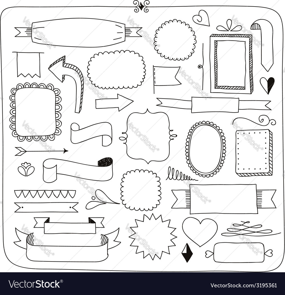 Doodle banners frames and design elements vector image