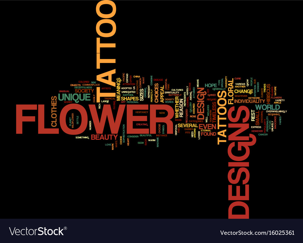 Flower Tattoo Designs Text Background Word Cloud Vector Image