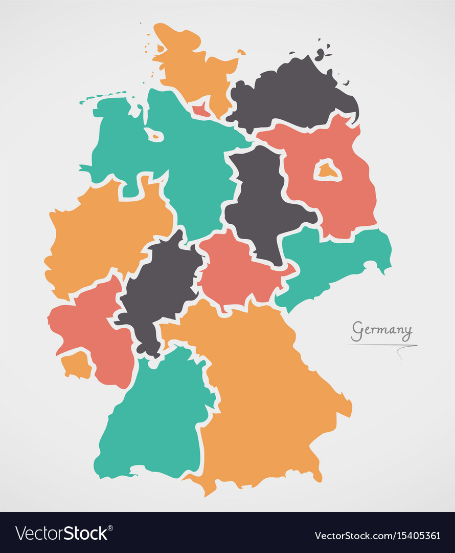 Map Of States Of Germany.Germany Map With States And Modern Round Shapes