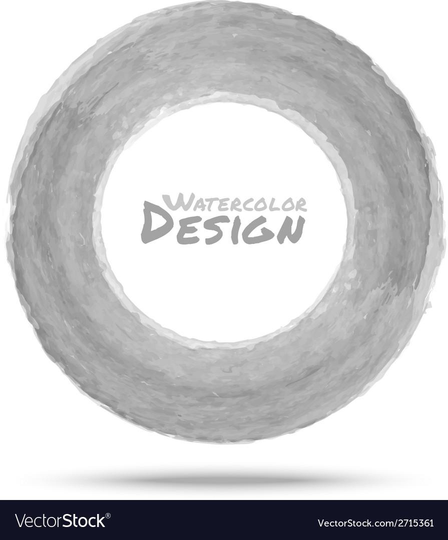 Hand drawn watercolor light gray circle design ele