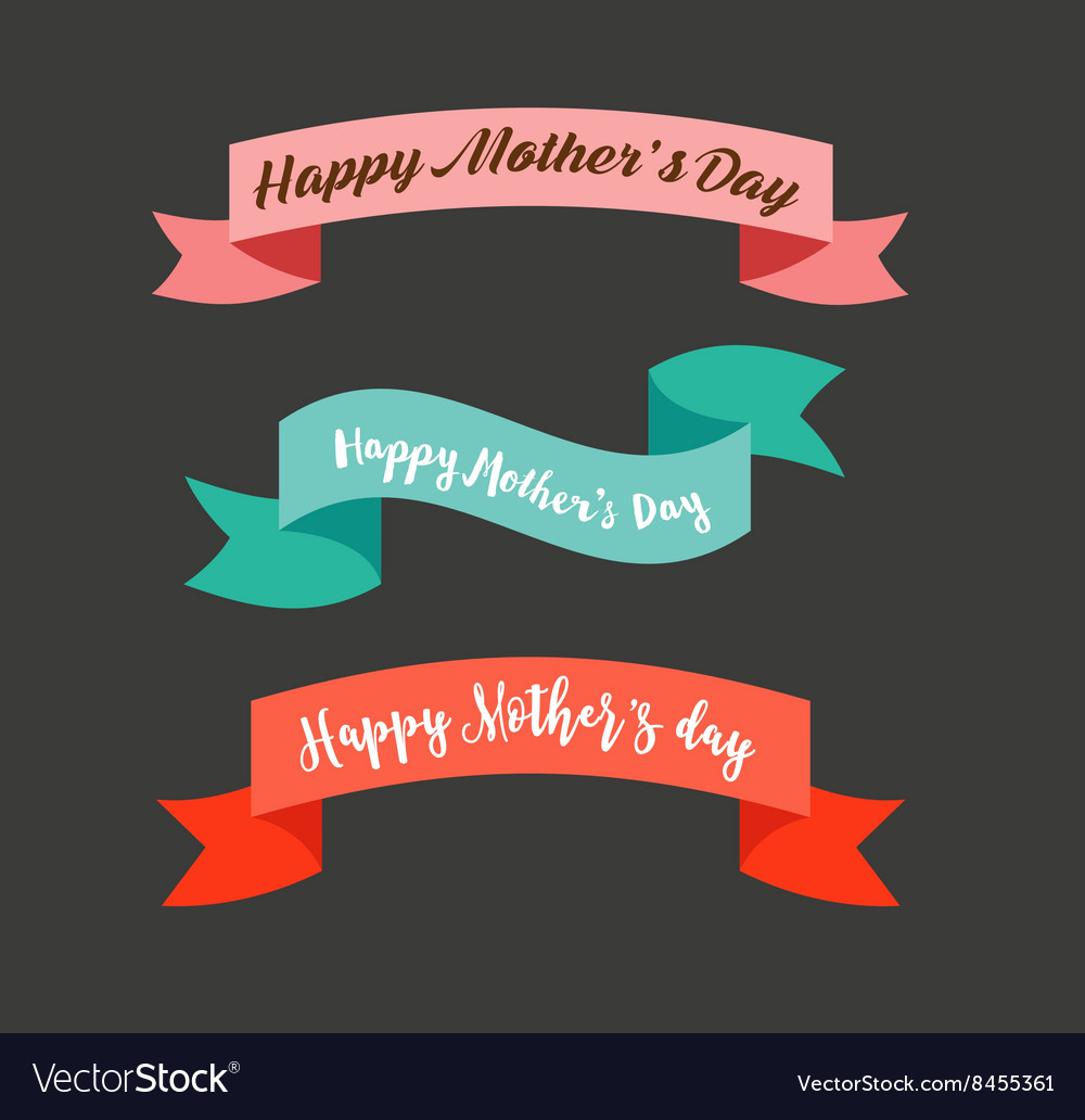 Happy Mothers Day ribbons banners