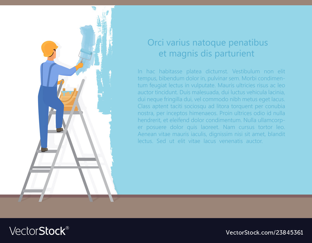 Man decorator painter with a paint roller painting