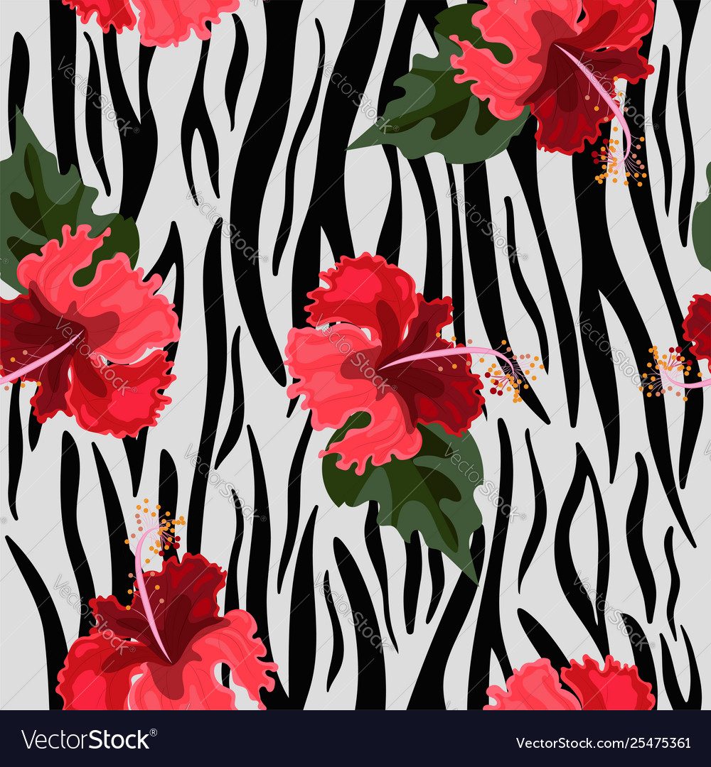 Seamless pattern with tiger skin and hibiscus
