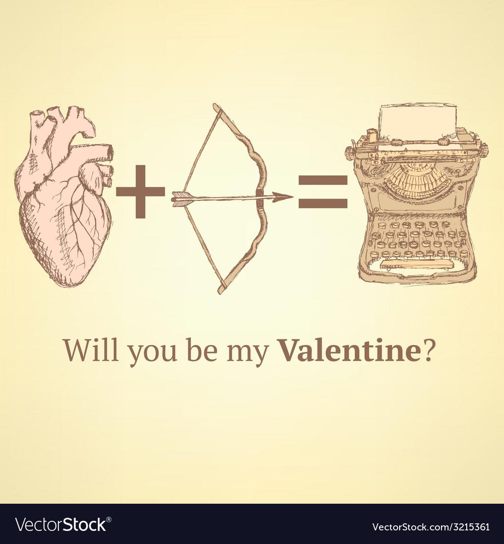 Sketch cute Valentine card