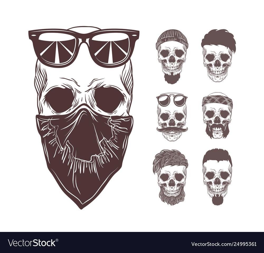 Skull in bandanna and