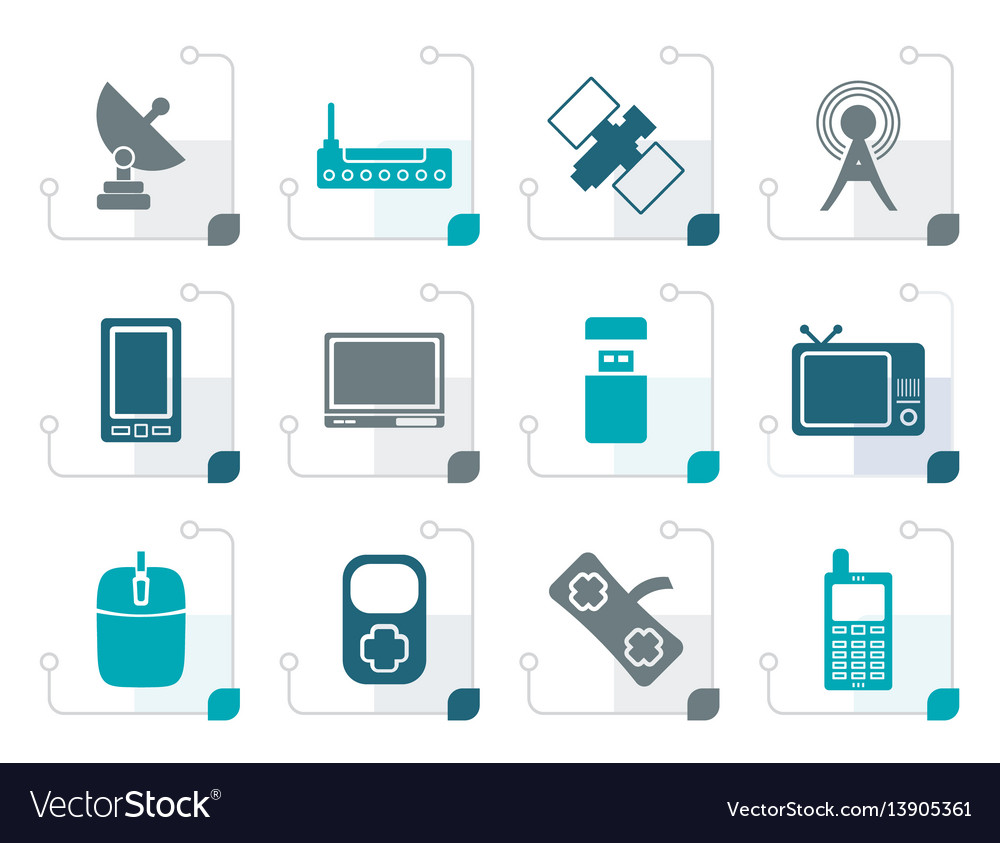 Stylized technology and communications icons