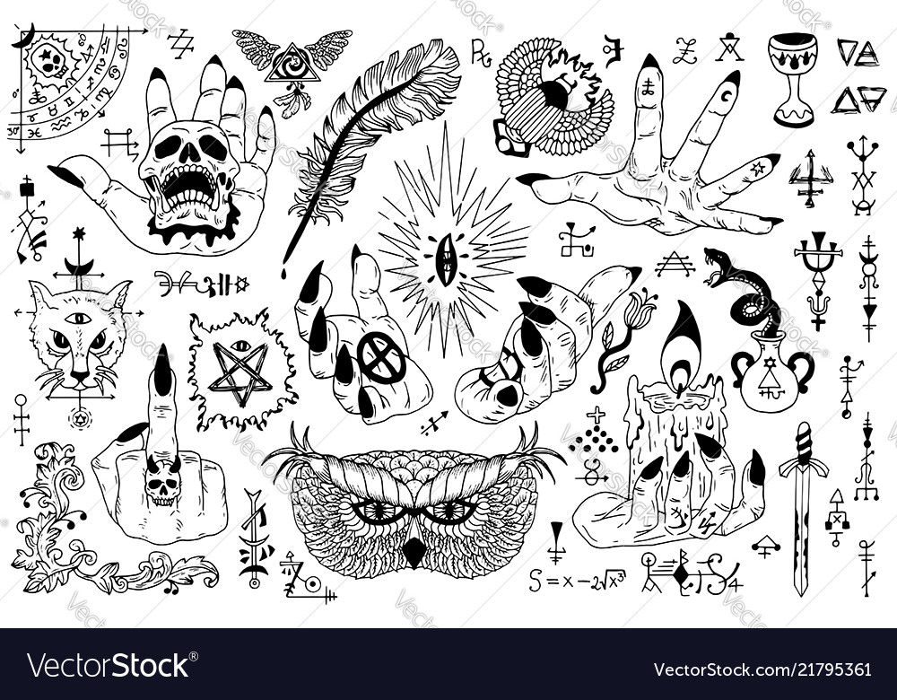 Tattoo design set with gothic icons and