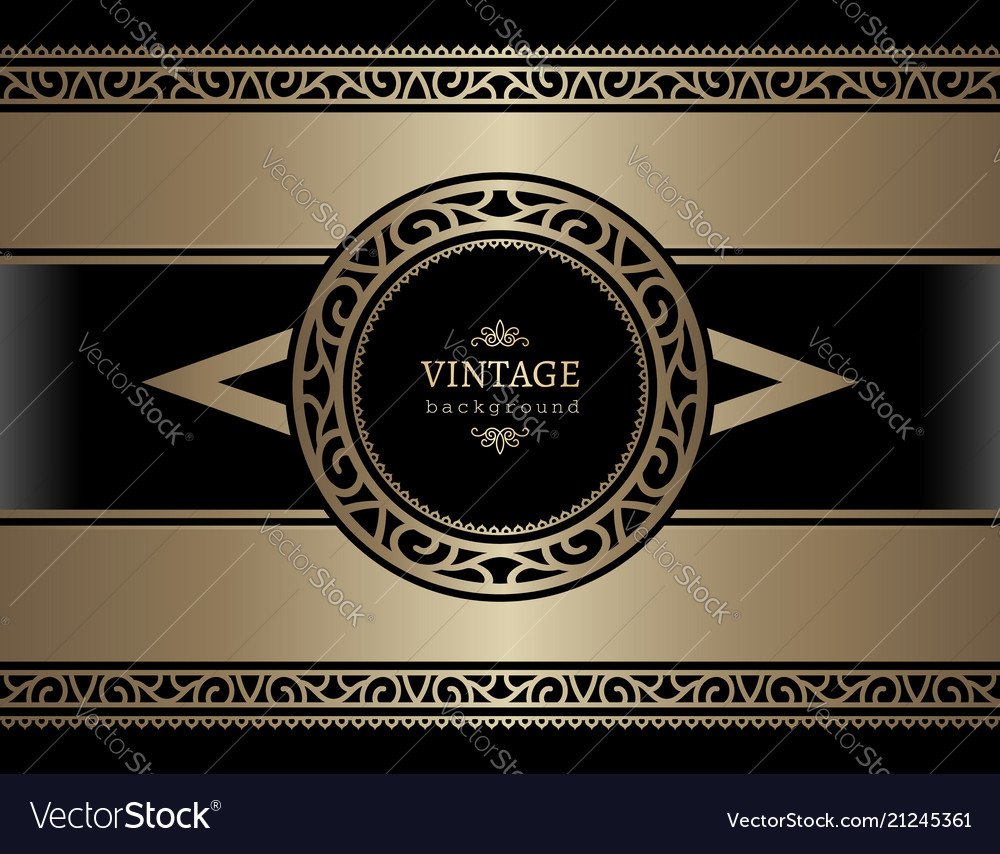 Vintage gold card with ornamental borders