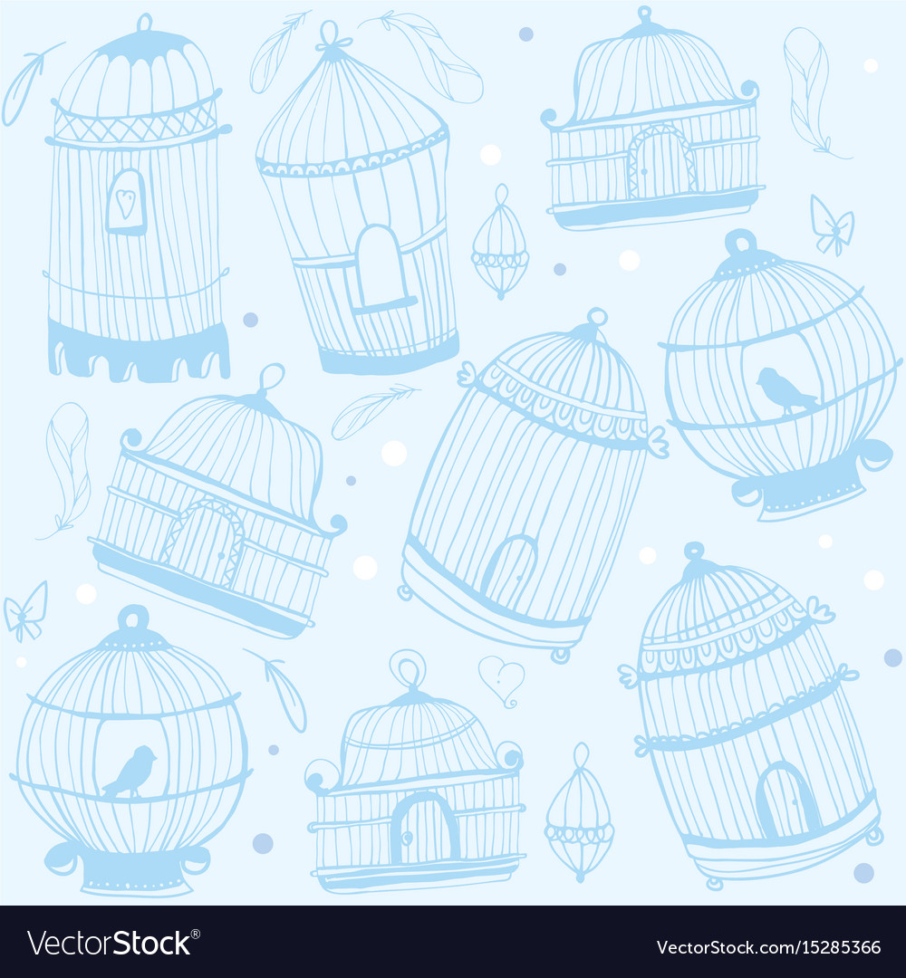 Birdcage print nature pattern with birdcages vector image