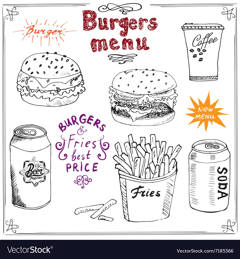 Burger Menu hand drawn sketch Fastfood Poster with