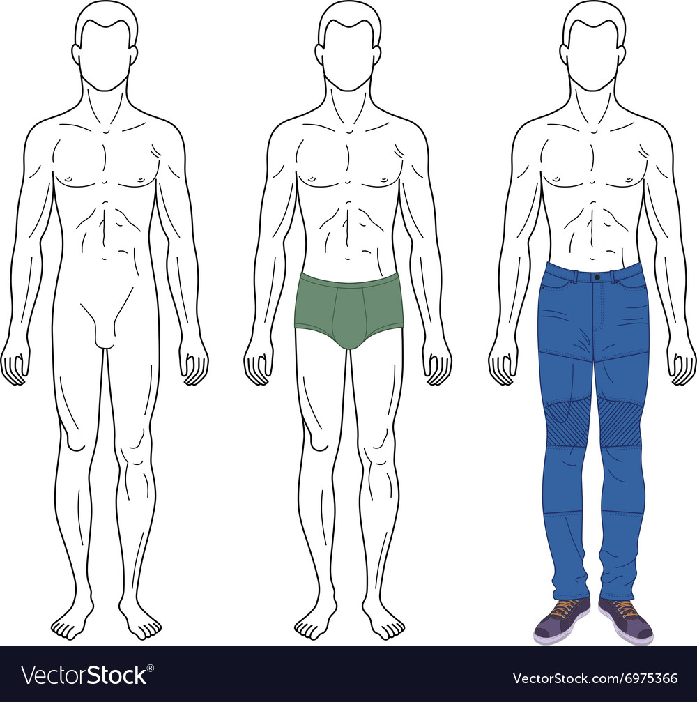 Fashion man outlined template vector image
