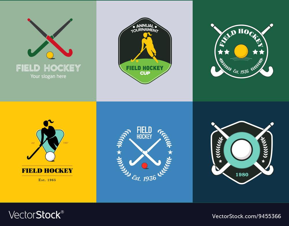 Field hockey logo set sport badges with