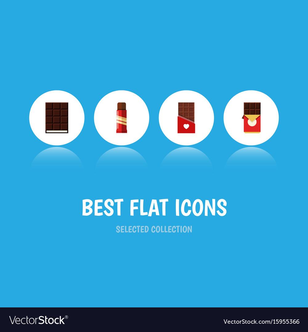 Flat icon bitter set of chocolate bar dessert vector image