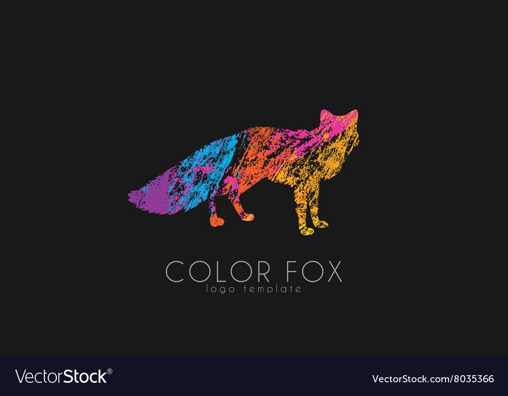 Fox Logo Color Design Animal Vector Image