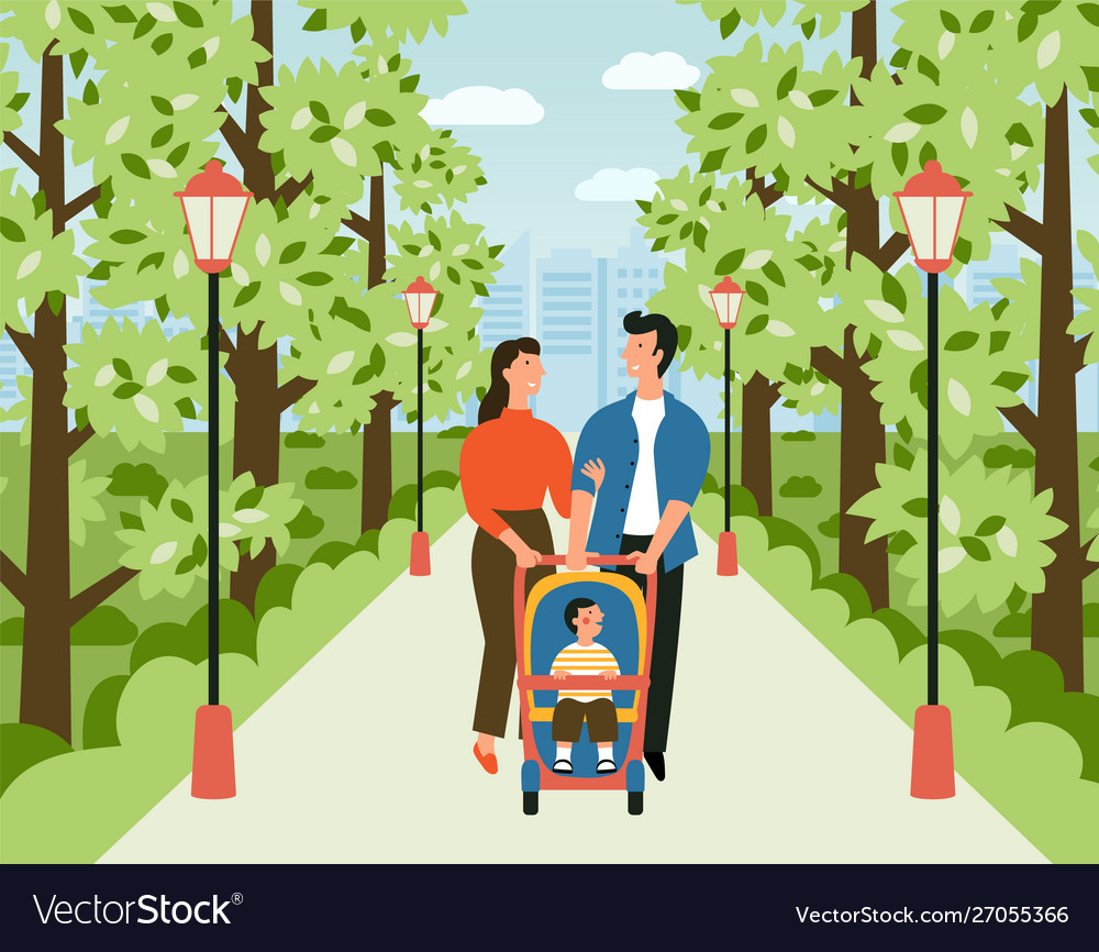 Happy family with bastroller in park man
