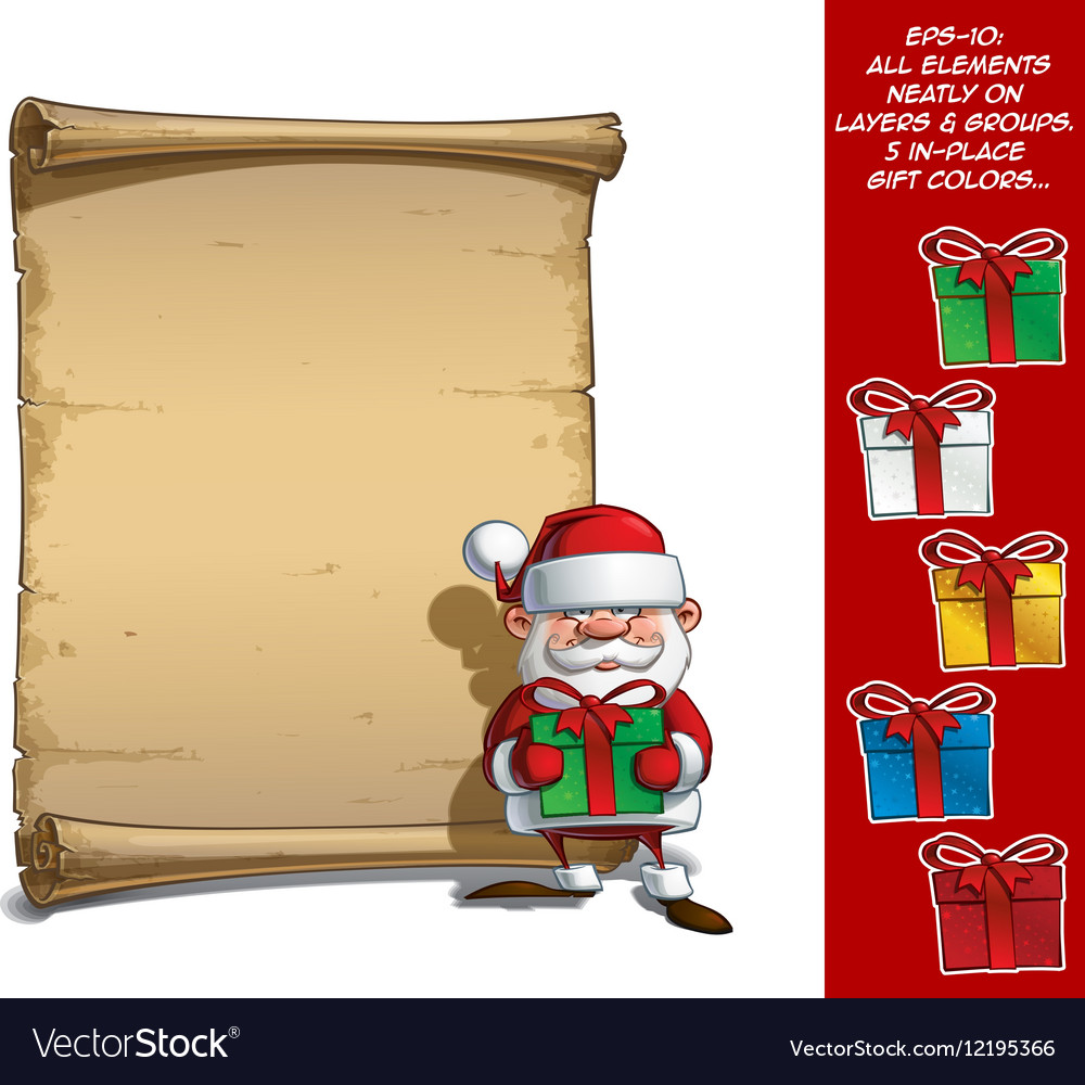 Happy Santa Scroll Holding a Gifts