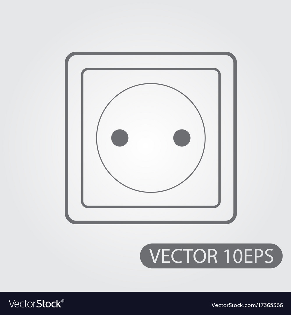 Household electrical outlet icon black and white