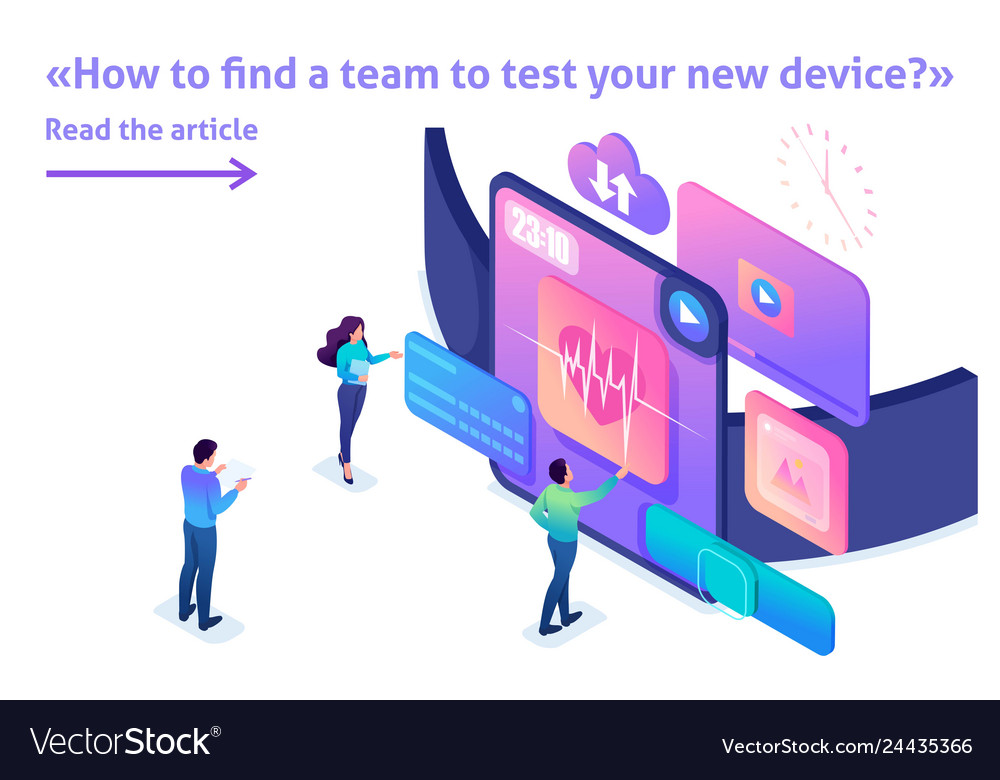 Isometric bright concept team is testing device