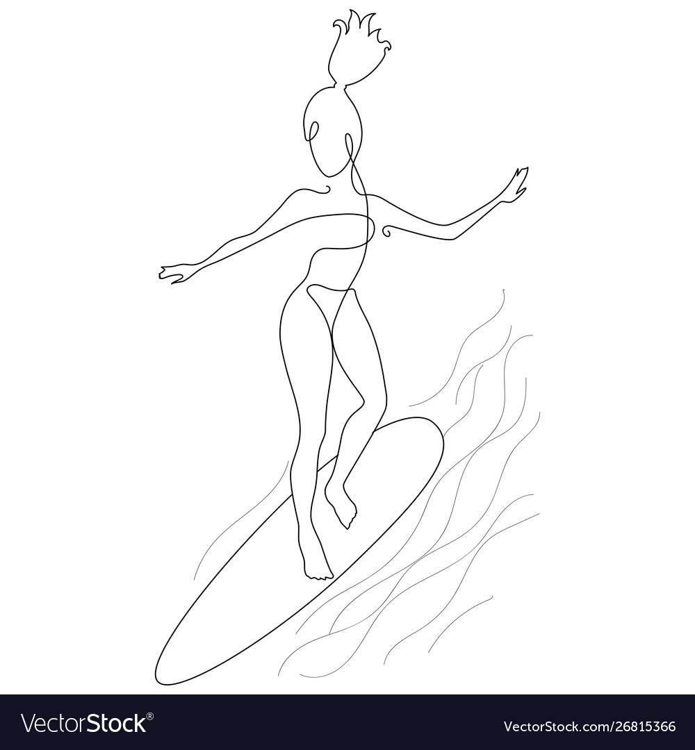 Modern line art style drawing surfing girl