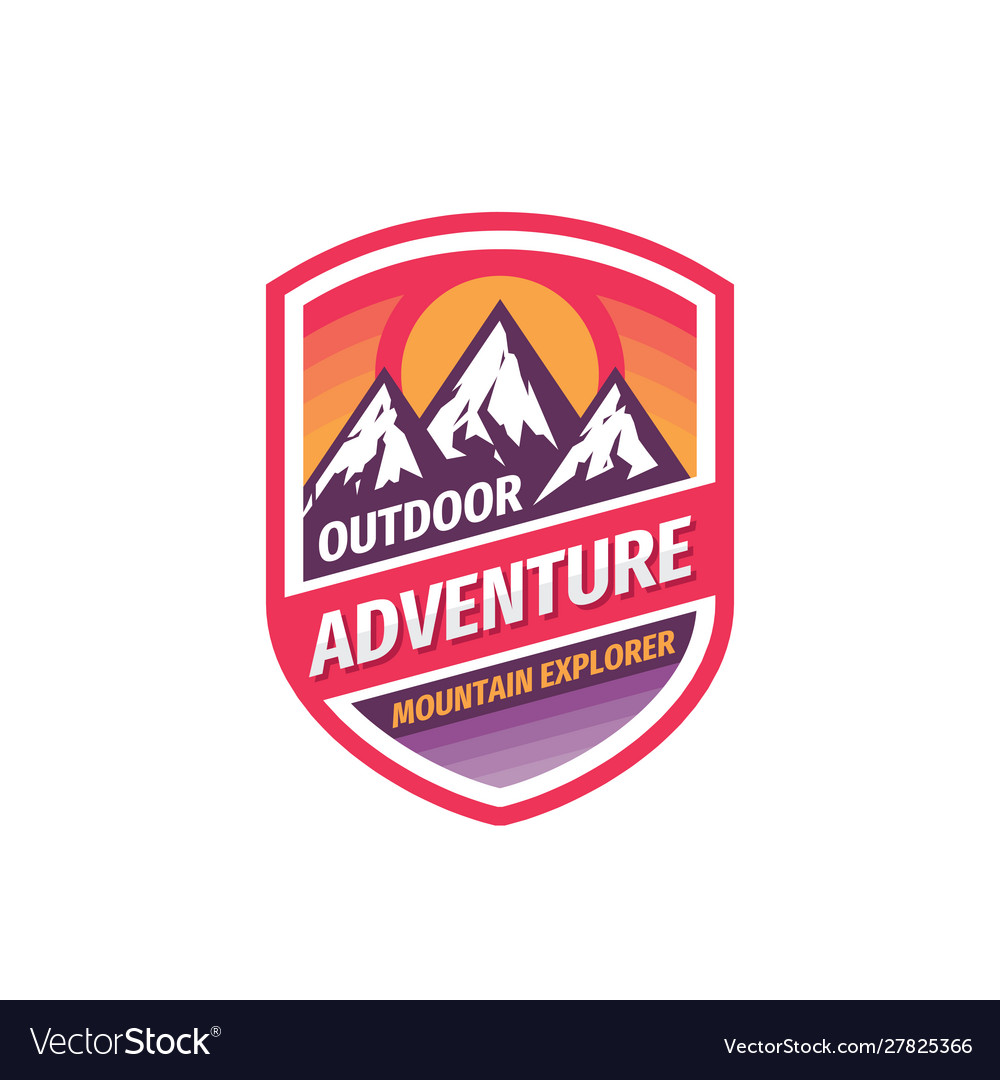 Outdoor adventure - concept badge design mountain