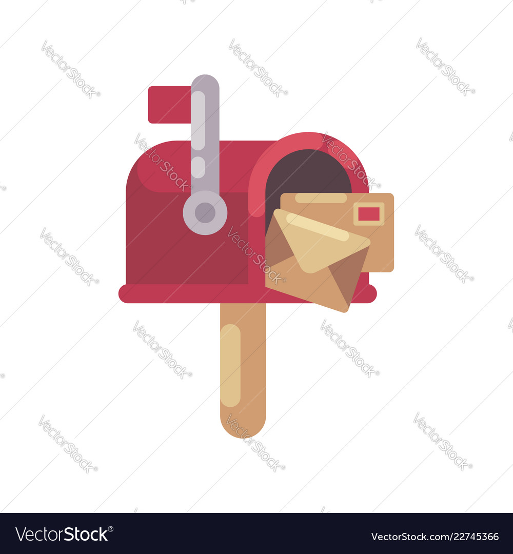 Christmas Mailbox.Red Mailbox With Letters Flat Christmas Mailbox