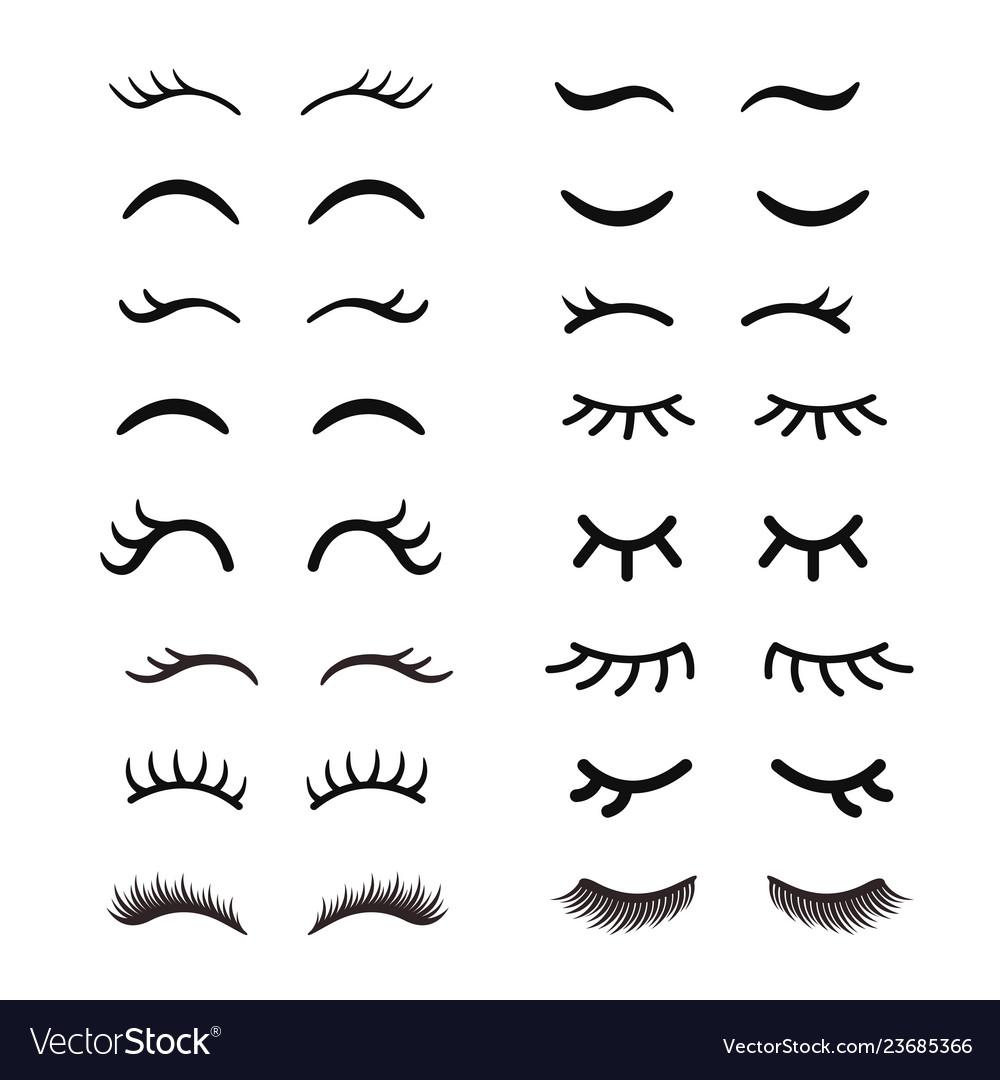 Set cute cartoon eyelashes open and closed