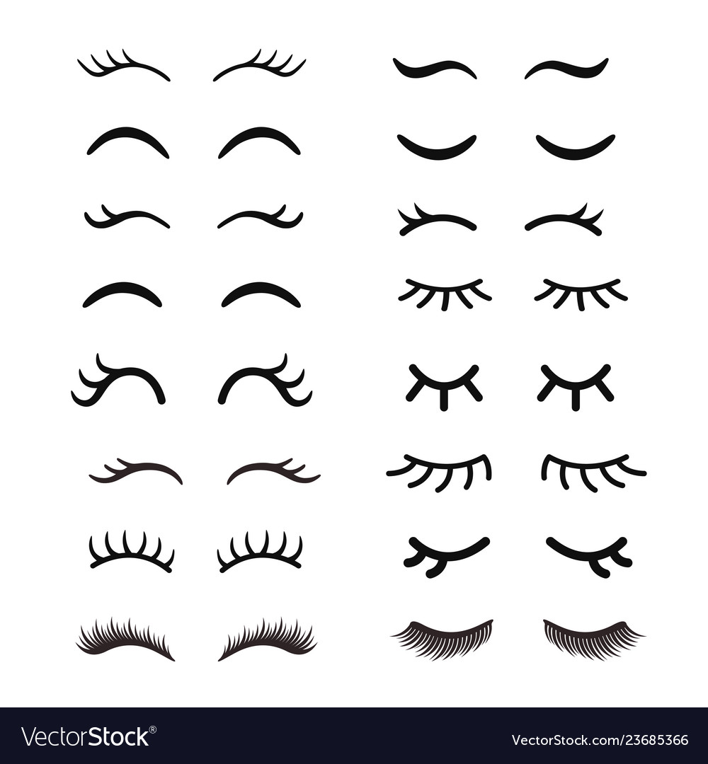 Set of cute cartoon eyelashes open and closed