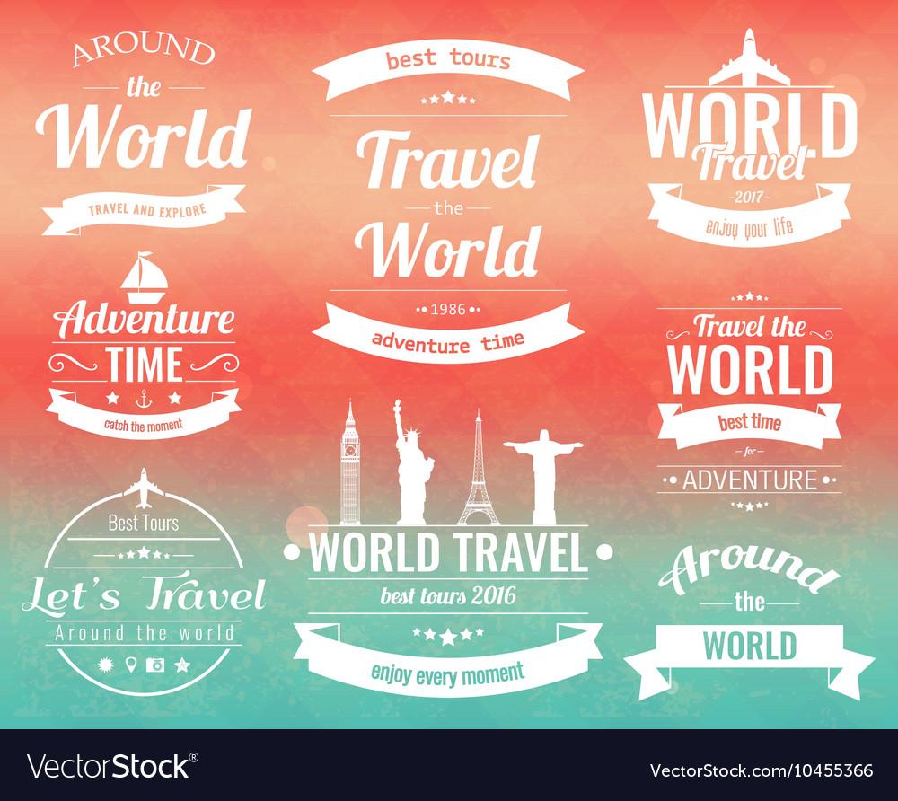 Set of vintage Travel badges and labels Holiday