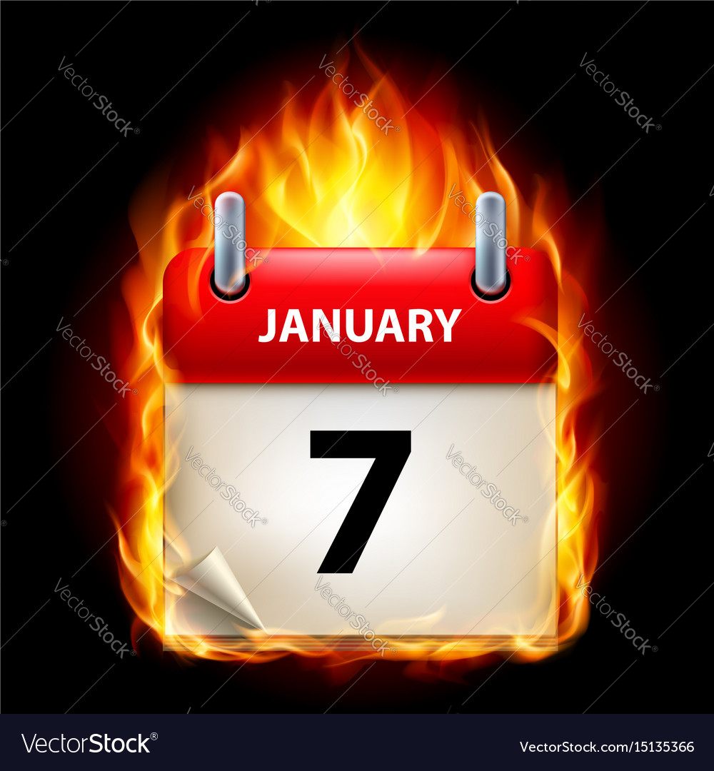 Seventh january in calendar burning icon on black