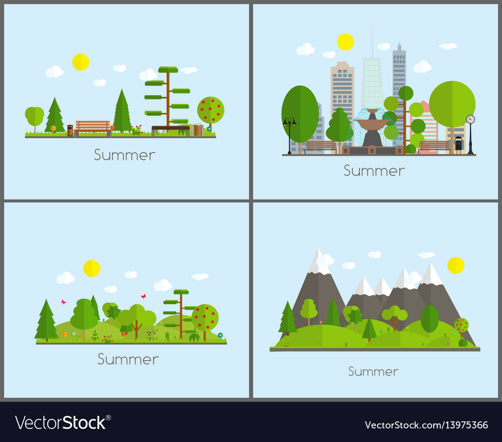 Summer time background set in modern flat design vector image
