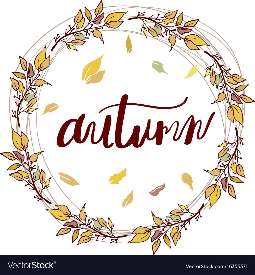Autumn frame calligraphy season banner card