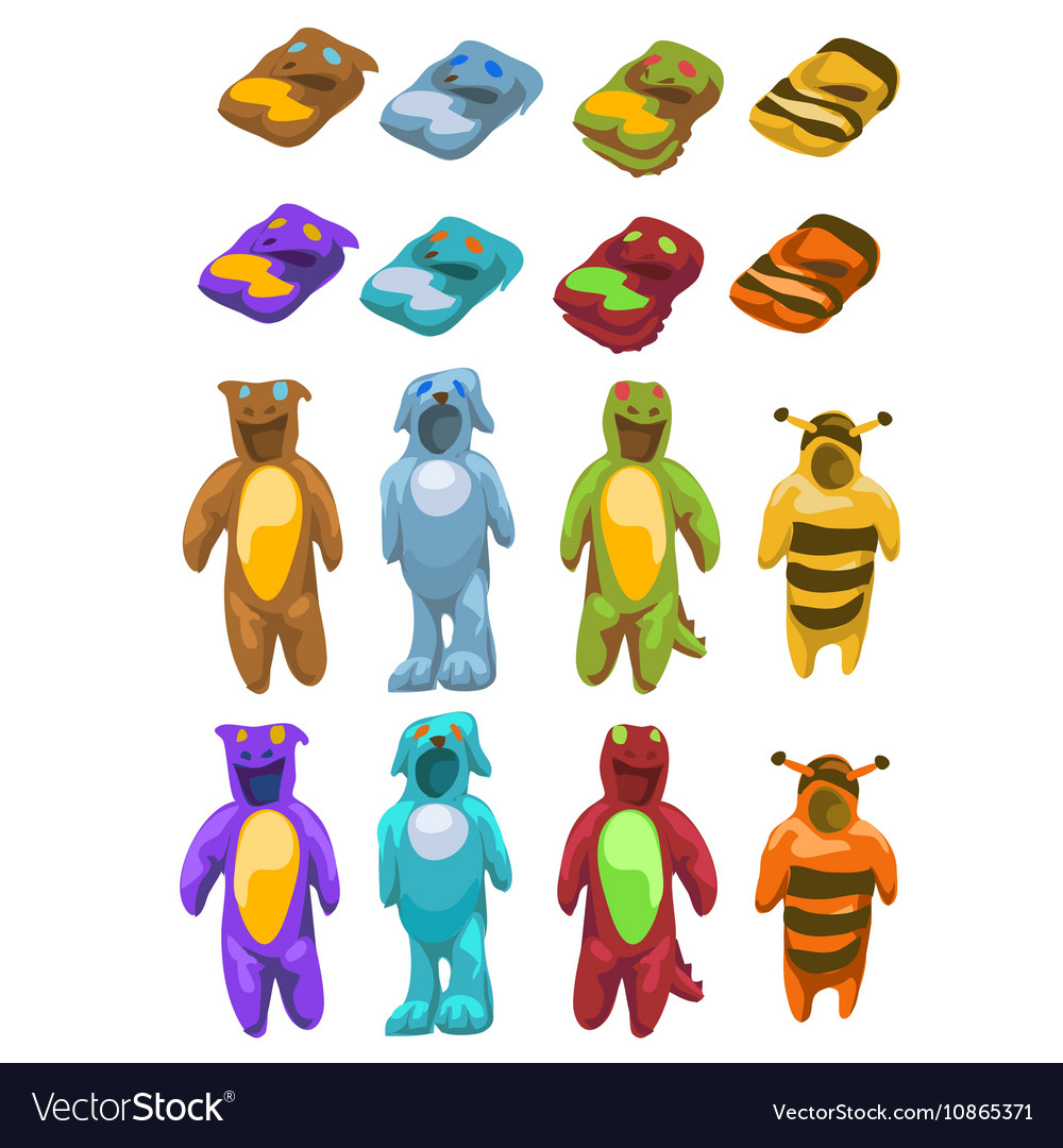 Baby costumes plush animals icons set