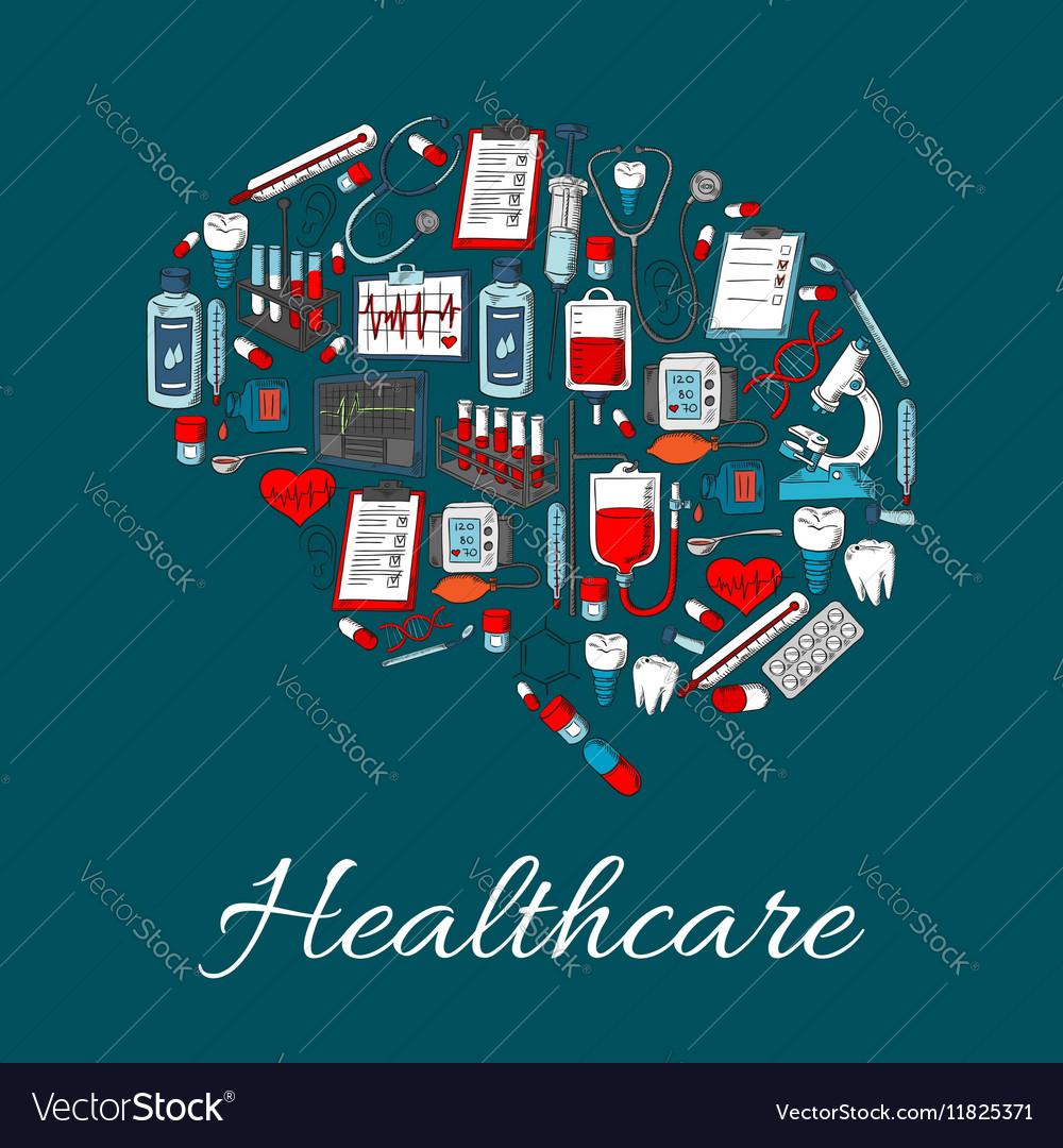 Brain symbol made up of medicine healthcare icon