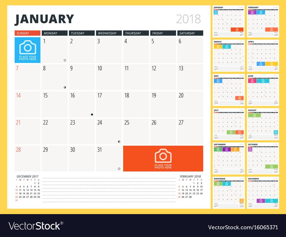 Calendar planner for 2018 year design template