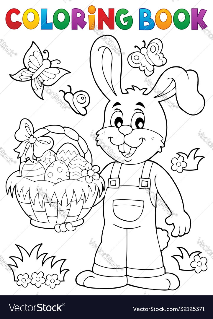 - Coloring Book Easter Rabbit Theme 7 Royalty Free Vector