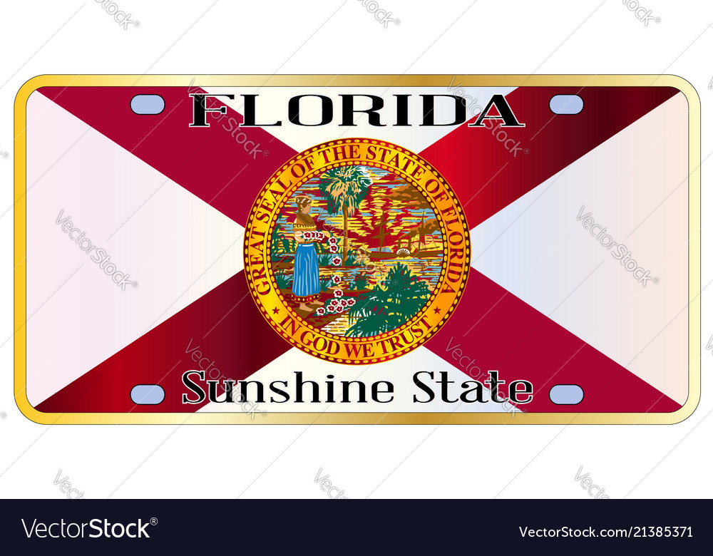 Florida State Flag License Plate Royalty Free Vector Image
