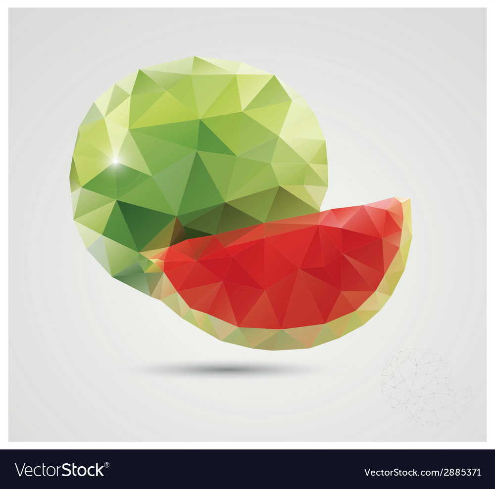 Geometric polygonal fruit triangles watermelon vector