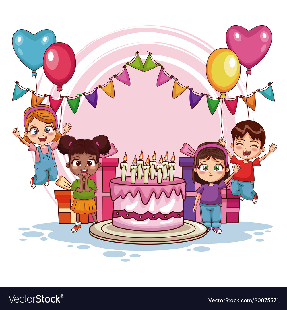 Happy Kids On Birthday Party Royalty Free Vector Image