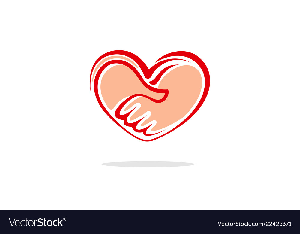 Heart handshake logo