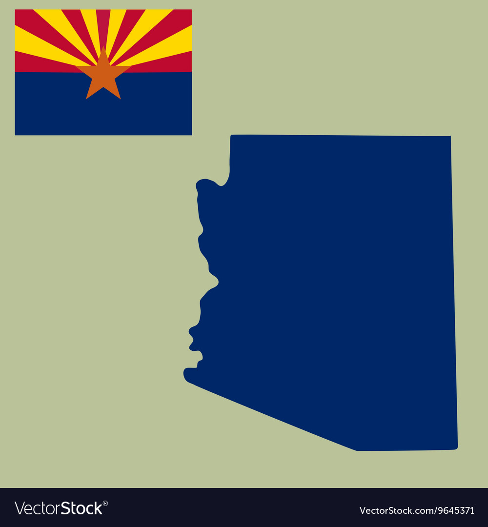 Arizona State Map Pdf.Map Of The Us State Of Arizona With Flag Vector Image