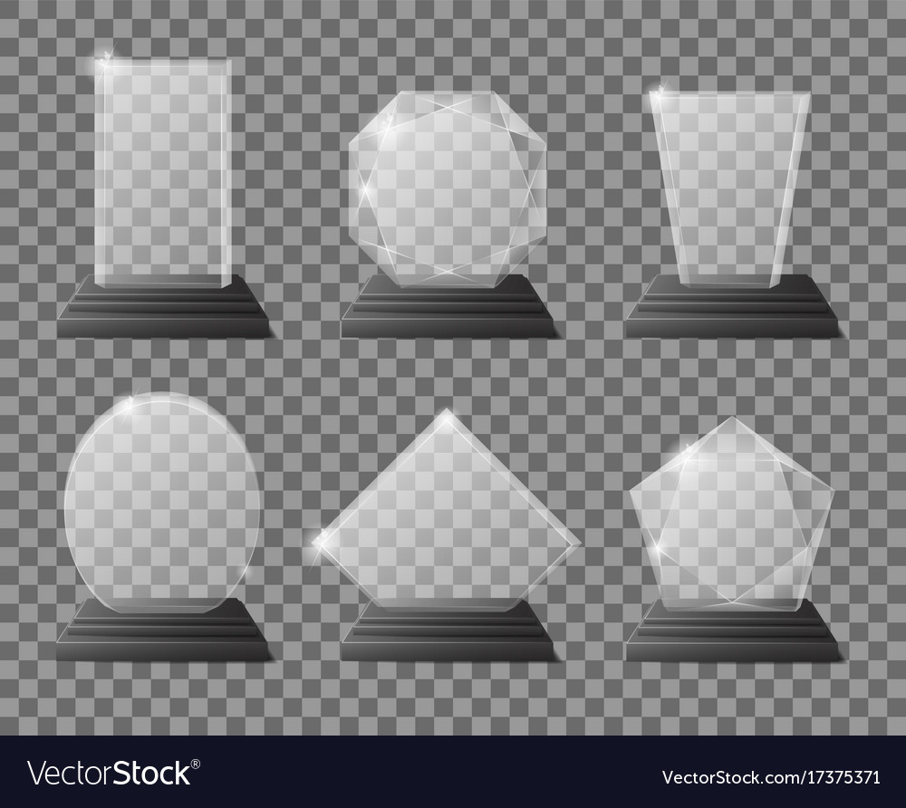 Set of empty glass trophy awards realistic vector image