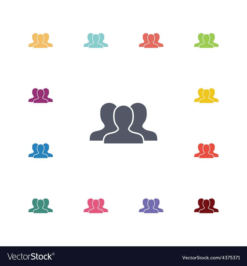 Team flat icons set vector image