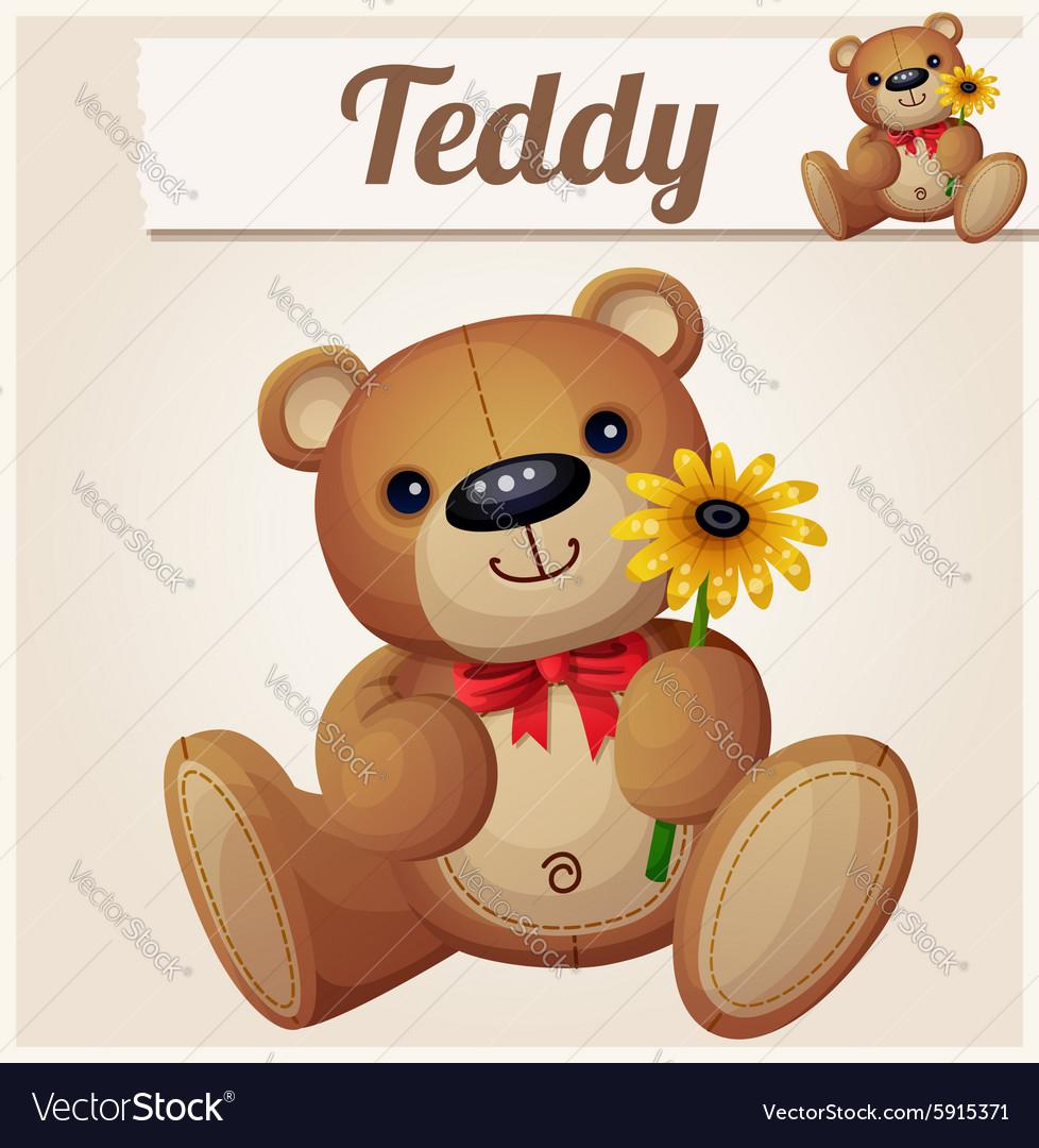 Teddy bear with yellow flower Cartoon vector image