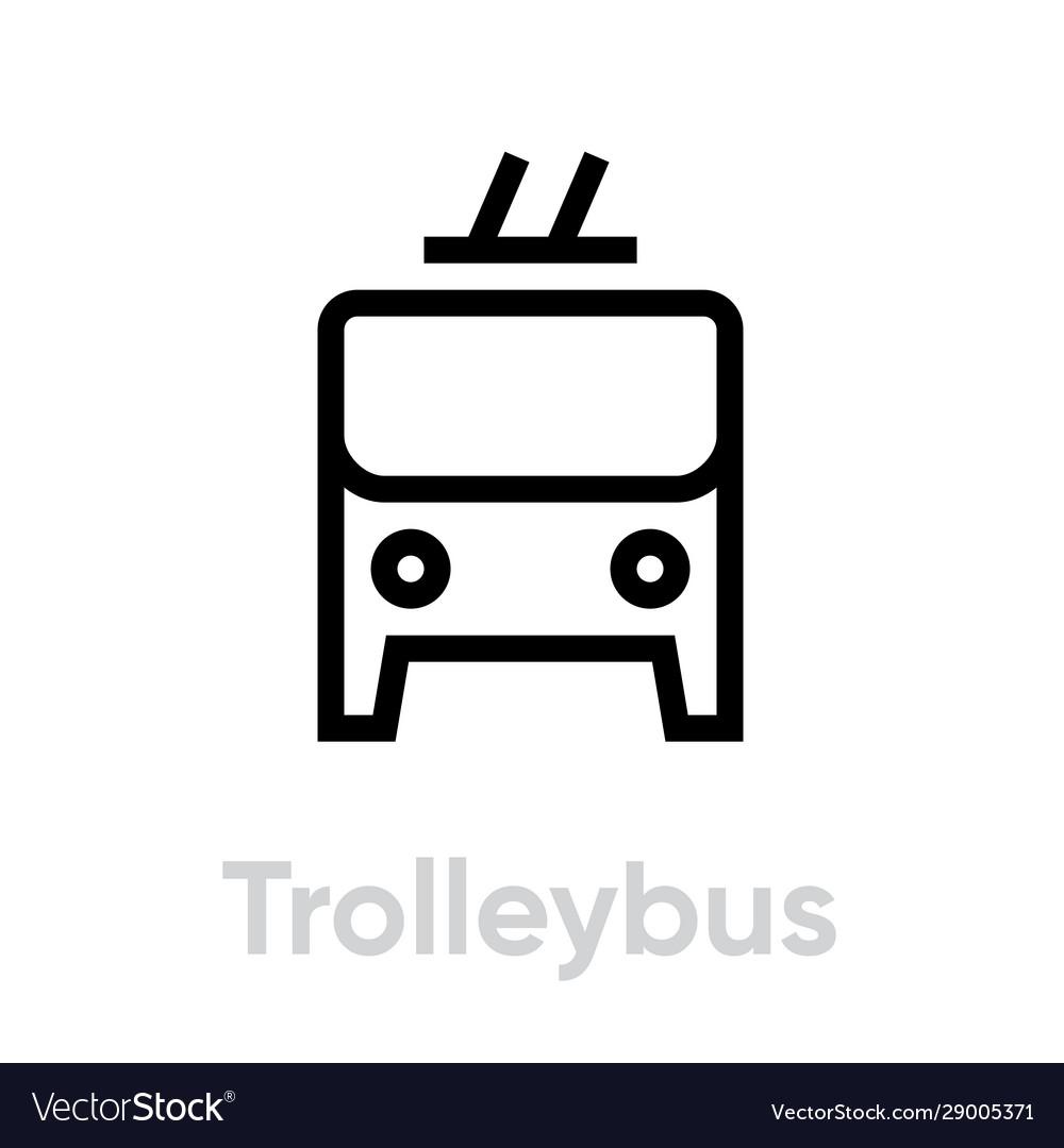 Trolleybus icon editable line electric bus