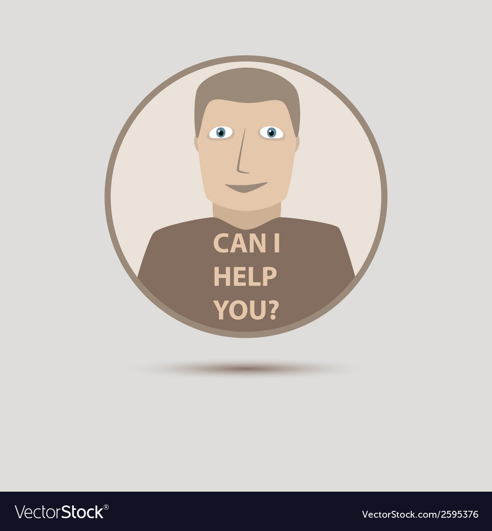 Abstract support man with can i help you words