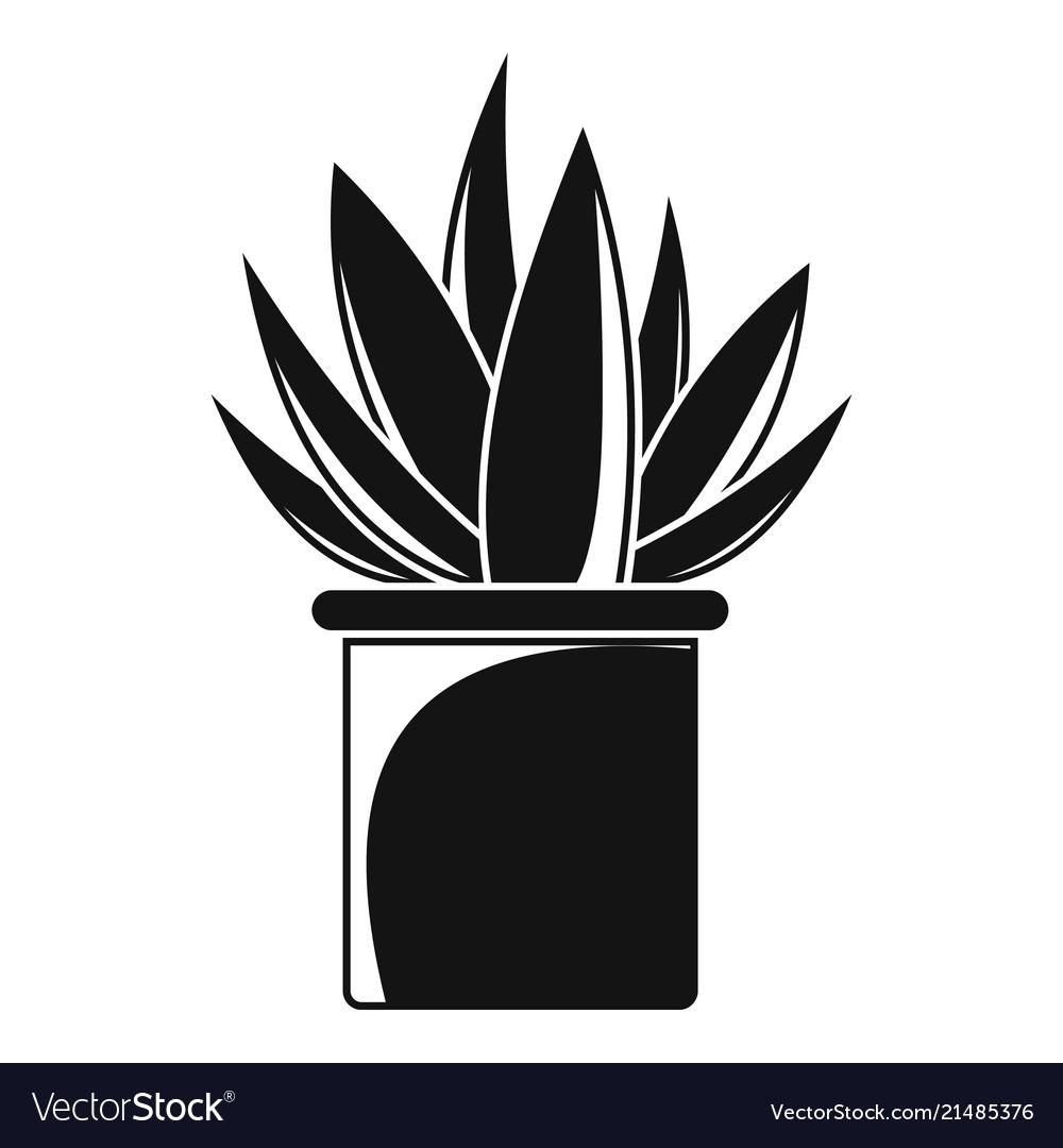 Aloe cactus pot icon simple style
