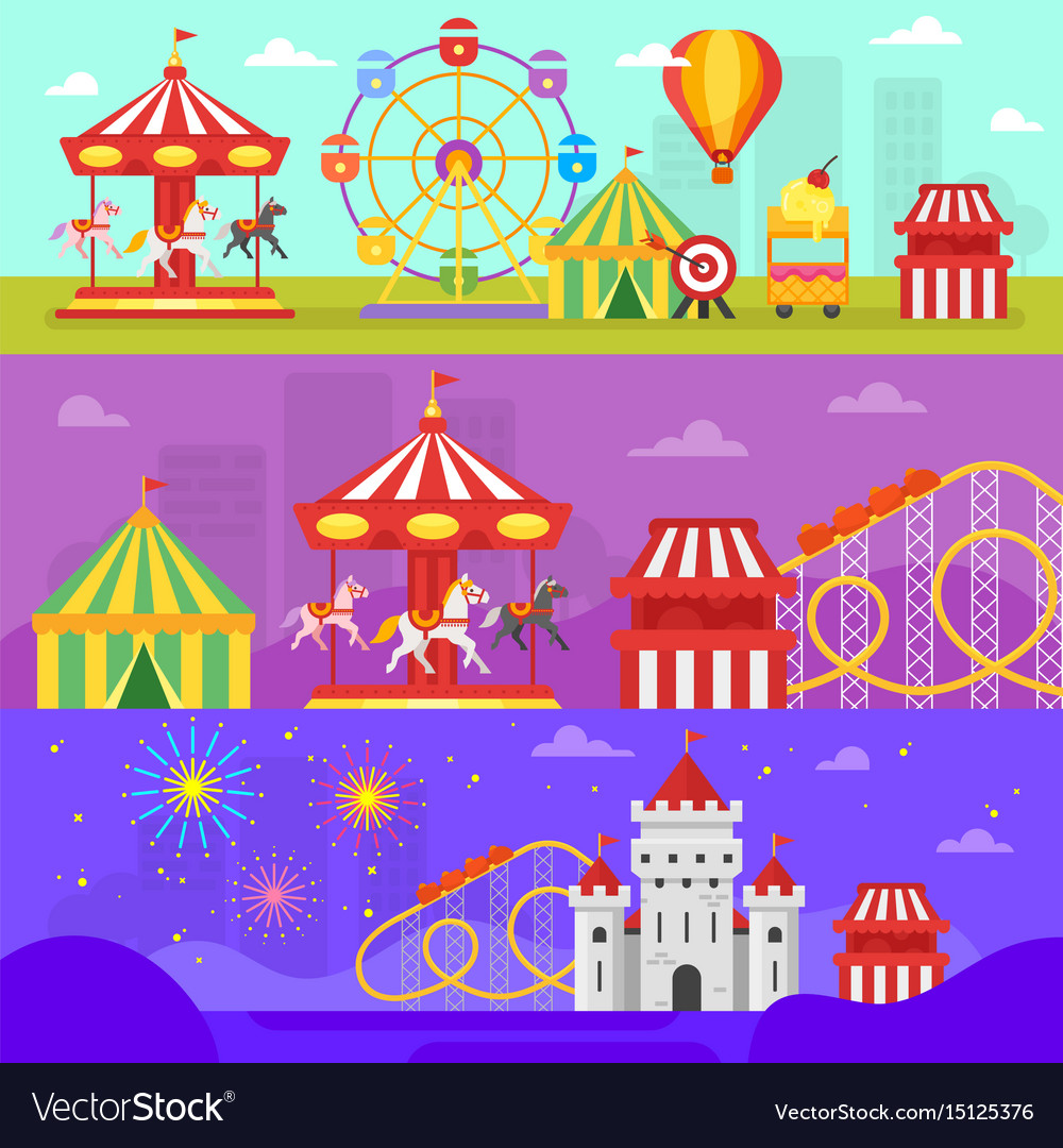 Amusement park for kids banners vector image