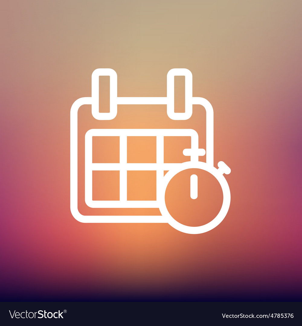 Calendar and stopwatch thin line icon