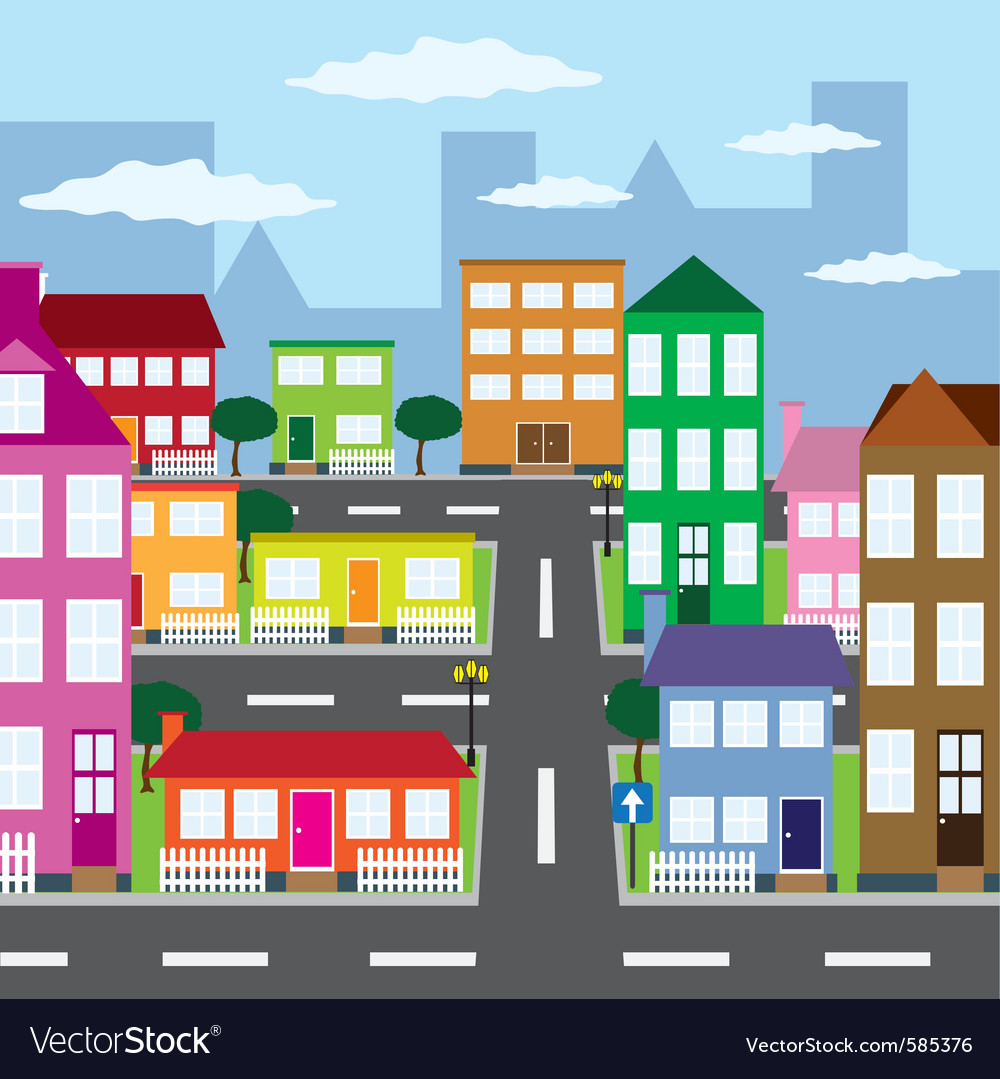City in sunny day vector image