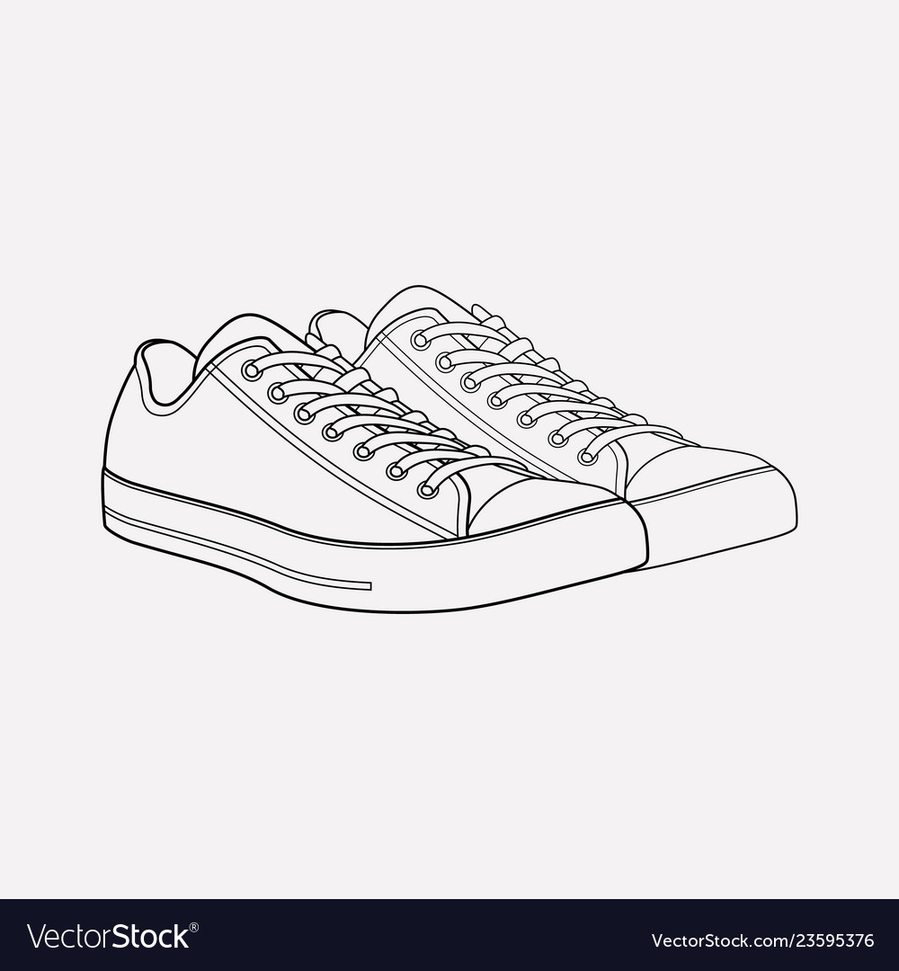 Converse shoes icon line element vector image
